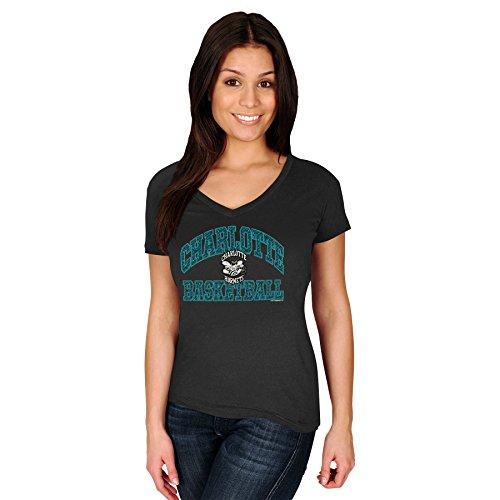 Majestic Athletic Charlotte Hornets NBA Damen Sweet Serenade V-Kragen Slim Fit T-Shirt, Kinder Damen Erwachsene Mädchen, Schwarz, XLarge - Kristall V-ausschnitt T-shirt