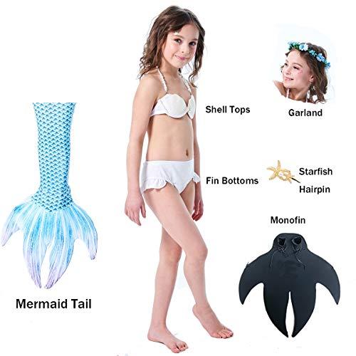 Mädchen Badeanzug Meerjungfrauenschwanz zum Schwimmen Mermaid Cosplay Kostüm Badeanzug Inbegriffen Monoflosse,Blue,105~115cm