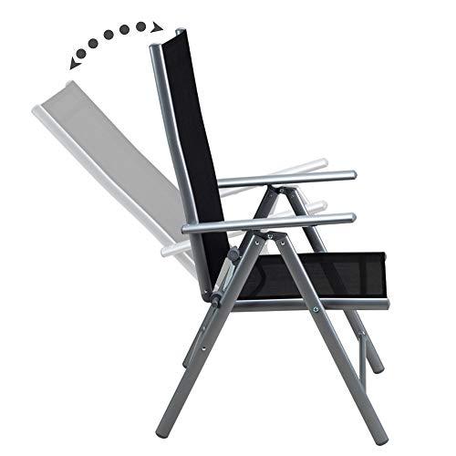 Alu Sitzgruppe 8+1 Sitzgarnitur Gartengarnitur Tischplatte aus Glas + klappbare und neigbare Stühle - 3