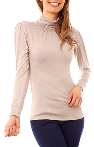 Easy Young Fashion - Top à manches longues - Femme Small Beige
