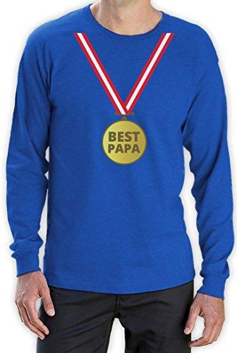 Präsent Shirt mit Gold Medaille - Bester Papa mit Auszeichnung Langarm T-Shirt Blau