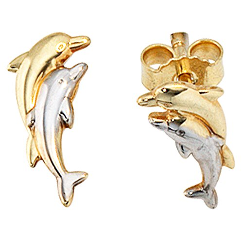 Ohrstecker 333/-Delfine Ohrstecker gold Delphin teilrhodiniert goldene Ohrringe