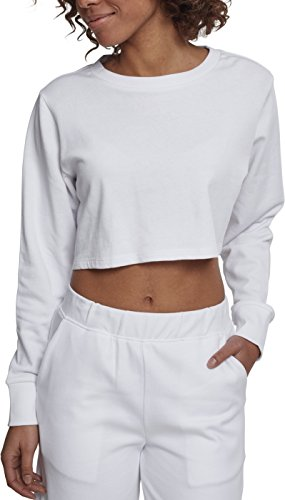 Urban Classics Damen Crop Pullover Ladies Terry Cropped Crewneck - Farbe white, Größe XS -