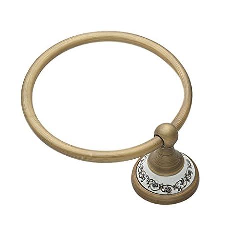 LI JING SHOP- Céramique bleue et blanche rétro tout anneau de serviette de bronze anneau suspendu haut de gamme européen de style salle de bain pendentif porte-serviette diamètre 16.0cm 1 ensemble de 1
