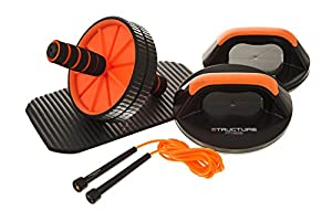 Structure Fitness ® Core Training Kit – Complete Home Fitness Training Set Including Rotating Push Up Grips, Abdominal Ab Roller with Cushioned Padded Knee Pad and 3m Speed Skipping Rope – Enjoy a Total Whole Body Workout from Home