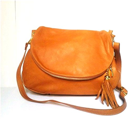 SUPERFLYBAGS Borsa Donna a Tracolla in vera pelle stampa morbida modello Mada XL Made in Italy cognac
