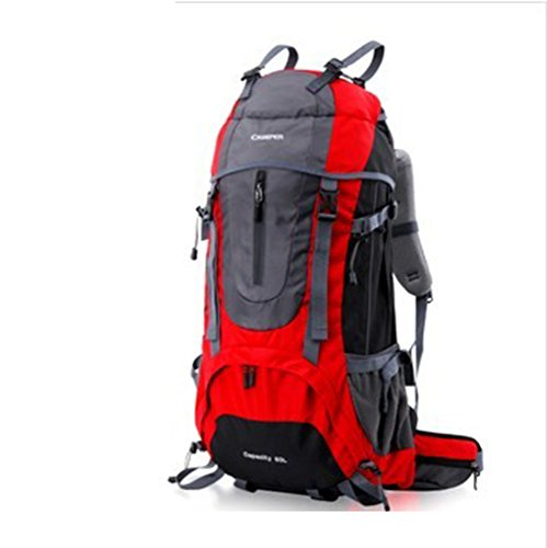 YAAGLE Professionell Sport Bergsteigen Tasche 60 L Outdoor Reiserucksack Damen und Herren Unisex-grün rot