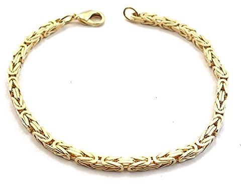Königsarmband Gold Double, 3 mm quadratisch, Länge 20 cm, Goldarmband Herren-Armband Damen Geschenk Schmuck ab Fabrik Italien tendenze (Männerschmuck Armband)