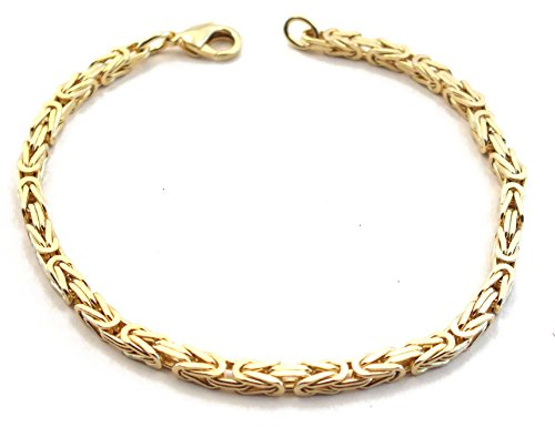 Double, 3 mm quadratisch, Länge 23 cm, Goldarmband Herren-Armband Damen Geschenk Schmuck ab Fabrik Italien tendenze BZGY3-23 ()