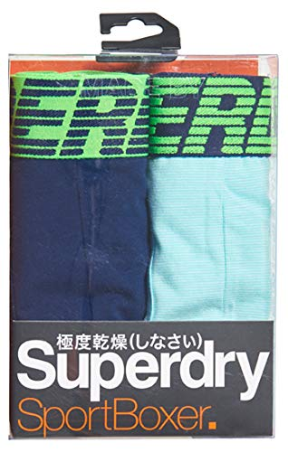 Superdry Herren Speed Sport Boxer Double Pack Boxershorts, Mehrfarbig (Richest Navy/Mint Feeder X4f), X-Large -