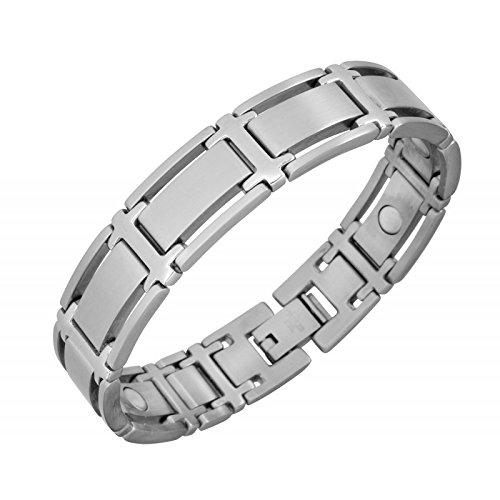 Magnetarmband Symmetry Silber - Schmuck für alle, die klare geometrische Linien lieben. Dieses Edelstahl-Magnetschmuck-Armband ist sehr gut mit Echtschmuck kombinierbar. Es ist auch als Funktionsschmuck für starke Handgelenke geeignet, Größen:XXL - 21cm