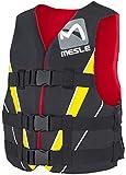 MESLE Schwimmweste V210, XS-XL, gelb-rot-schwarz, 50-N Auftriebsweste Prallschutz Schwimmhilfe, für Erwachsene und Jugendliche, Wasserski Wakeboard Impact-Vest, Nylon, Boot Jet-Ski Yacht, Größen:M