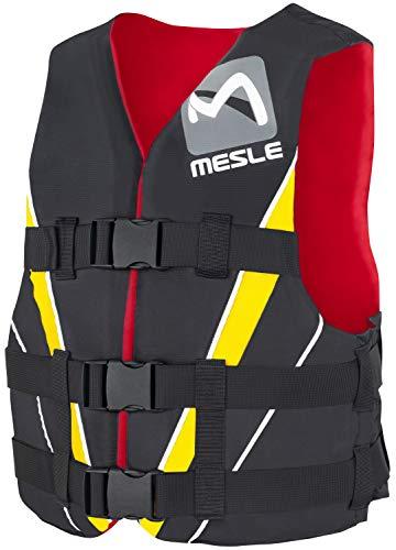 MESLE Schwimmweste V210, XS-XL, gelb-rot-schwarz, 50-N Auftriebsweste Prallschutz Schwimmhilfe, für Erwachsene und Jugendliche, Wasserski Wakeboard Impact-Vest, Nylon, Boot Jet-Ski Yacht, Größen:XL -