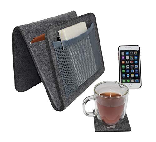 Danily Organizer con tasche portaoggetti per bordo letto, completo di supporto del telefono desktop e sottobicchiere