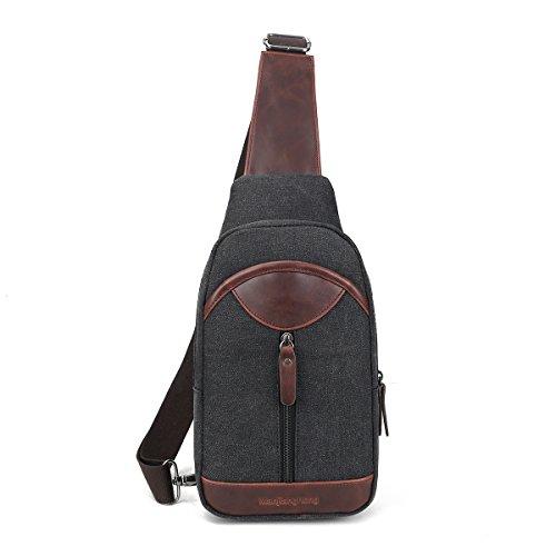 Imagen de eshow bolso  de pecho del hombro de lona tela de bandolera bolso cruzado para hombres color negro