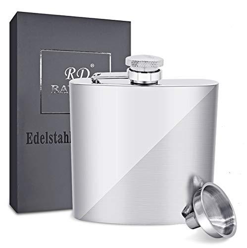 304 Edelstahl Flachmann mit Trichter Set, Rayuda Tragbarer Flaschen für Outdoor und Camping - 8 oz. 227ml - Twilled