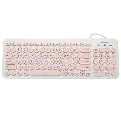 Tastatur (Koreanisch/Englisch) Retro Punk Stil Tastatur mit runder Tastenkappe USB Wired Mute Tastatur Ultra-leise Retro & Wired Mouse Kit Membrane Round Keycap Keyboards 96 Tasten Pink Rose Apple Wireless Keyboard Kit