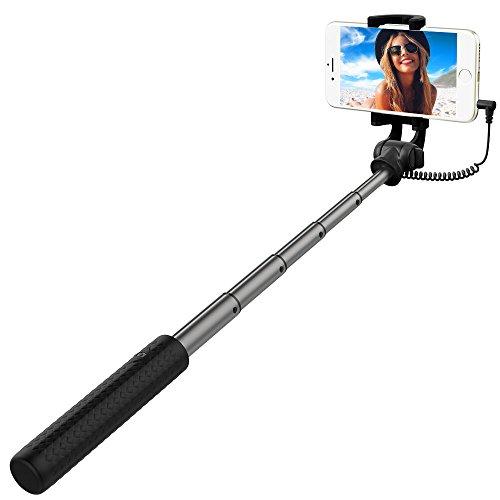 Bastone Selfie, RIVERSONG Selfie Stick Portatile Autoritratto Monopiede Telescopico con Fili Universale per iPhone, Samsung, HUAWEI, Sony, HTC e Altri Smartphone