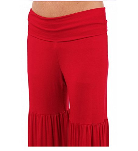 Smile YKK Damen Sommer Fitness Yoga Freizeithosen Schlaghosen Stretche Hosen Palazzo Hosen Wide Leg Palazzo Pants Rot