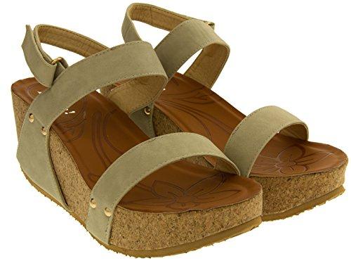 Poshh! Femmes Sandales Compensées avec la Plate-forme Beige