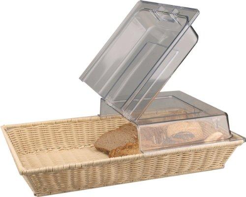 Getgastro 143140225 Corbeille à pain panier avec couvercle à charnière GN 1/1 53 x 32,5 x 15 cm en rotin Passe au lave-vaisselle