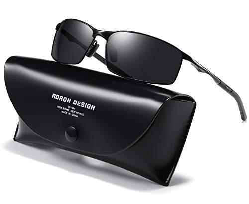 AORON Polarisierte Sonnenbrille Herren Outdoor Sportarten Schutz Brille UV-Schutz Fahrbrille (Schwarz)