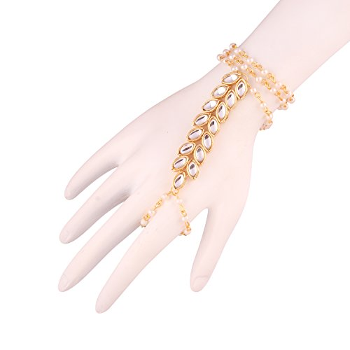 I Jewels Gold Plated Kundan and Pearl Hath phool for Women (PIJ012W)
