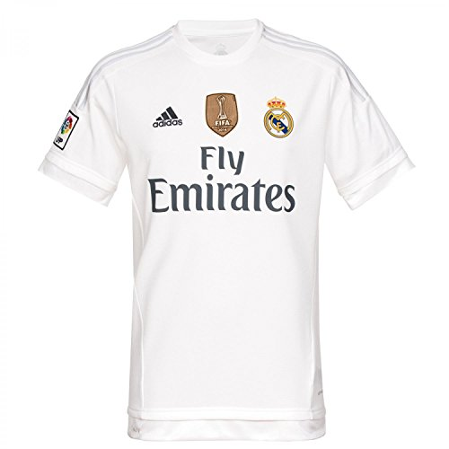adidas 1ª Equipación Real Madrid CF 2015/2016 – Camiseta oficial con la insignia de campeón del mundo para hombre