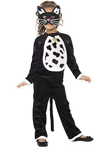 costumebakery - Mädchen Kinder Kostüm Plüsch Katze Cat mit Glöckchen und Maske Fell Einteiler Onesie Overall Jumpsuit, perfekt für Karneval, Fasching und Fastnacht, 104-116, Schwarz