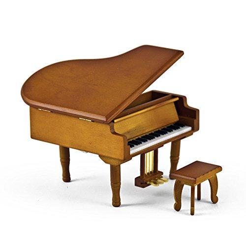 MusicBoxAttic Incredible Holz Ton Miniatur Nachbildung eines Baby Grand Klavier mit Bank, 88. Dies Bildnis (aria from Magic Flute) - SWISS - Magic Bank