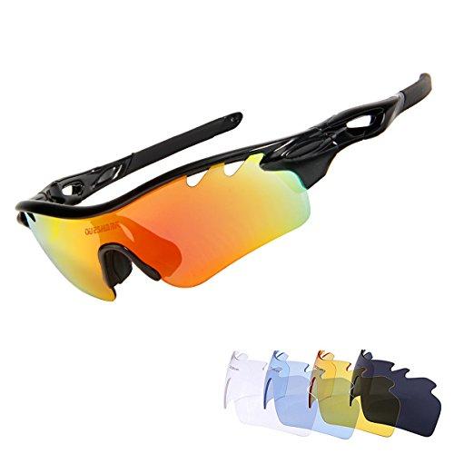 Queshark TR90 UV400 Unisex Gafas de Sol Deportivas Polarizadas 5 Lentes de Cambios Incluido para Deporte y Aire Libre Ciclismo Conducción Pesca Esquiar Golf Correr (Color 01)