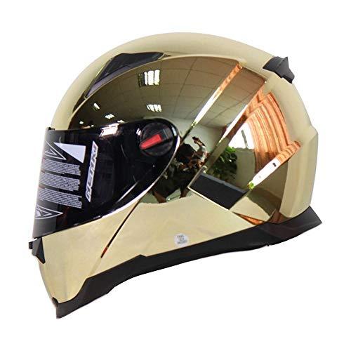 toukui Motorradhelm Männlich Weiblich Harley Vollgesichtshelm Helm Halb Helm Kohlefasermaterial Winddicht Schalldicht Doppelschirm Vier Jahreszeiten Reiten (56-61cm),G-L