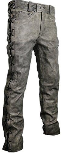 MDM Motorrad Lederhose an den seiten geschnürt in grau (40)
