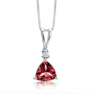 Miore 9 ct White Gold 0.02 ct SI Diamond with Garnet Pendant Necklace on 45 cm Chain