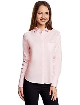 oodji Ultra Mujer Camisa Básica con Un Bolsillo