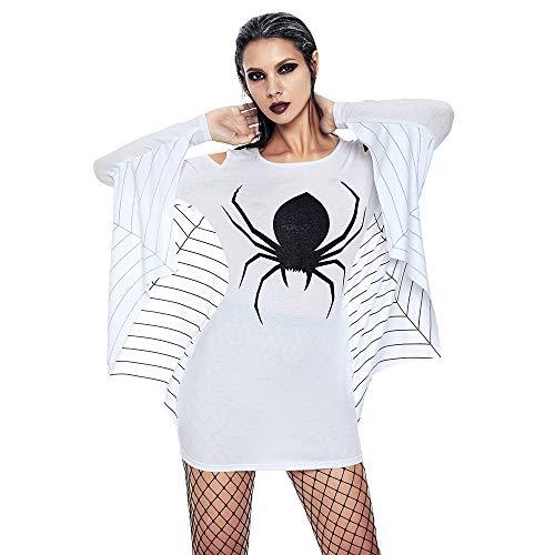 Kostüm Kat Kind Kit - Beonzale Halloween Kostüm Damen Halloween Spider Uniform Schulterfrei Langarm Fledermaus Mantel Minikleid Steampunk Gothic Kostüm