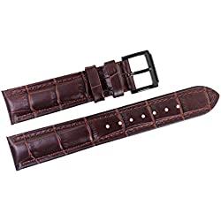 19mm braun italienischen Lederersatzuhrenarmbänder / Bands für Luxus-Uhren mit Dornschließe handgefertigt gepolsterte Grosgrain