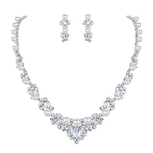 EVER FAITH® österreichische Kristall elegant Halskette Ohrring Schmuck Set Silber-Ton N00476-2
