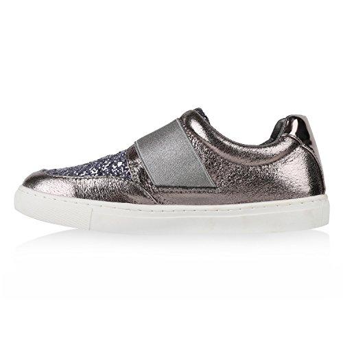 Damen Sneakers Slipper Slip-ons Glitzer Skaterschuhe Flats Grau Metallic Glanz