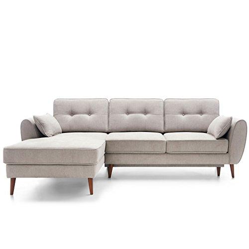 Moebella Ecksofa mit Schlaffunktion und Bettkasten Mores Skandinavisches Designer Schlafcouch Sofa Bettfunktion (Spiegelverkehrt)