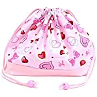 Drawstring Gokigen lunch and ribbon (medium size) with gusset lunch bag glitter heart Beauty (Pink) x Ox pink made in Japan N3460900 (japan import) preisvergleich bei kinderzimmerdekopreise.eu