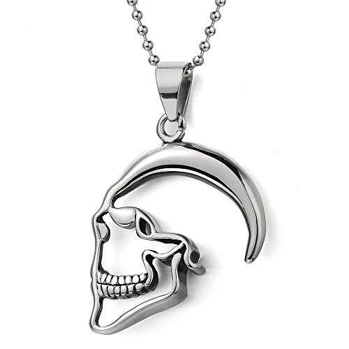 mens-womens-skull-contour-pendant-necklace-stainless-steel-with-30-inches-steel-ball-chain