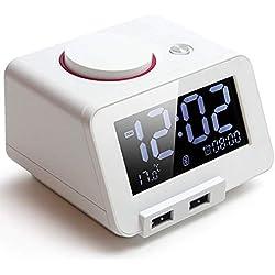 TINAWNZS Réveil de Chambre à Coucher avec Haut-Parleur Bluetooth, Chargeur USB Universel à 2 Ports, Grand écran LCD dimmable, Horloge électronique avec Affichage du thermomètre - Version améliorée
