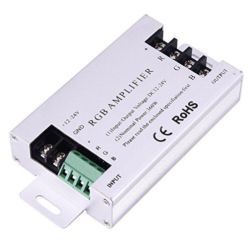 Light Controller, SX-A06 Puissance nominale 360W Double carte RGB amplificateur LED Controller, DC 12-24V