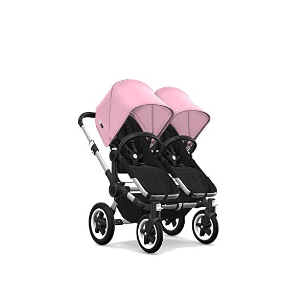Bugaboo Donkey 2 Twin, 2 in 1 Double Pram and Double Pushchair for Twins, Black/Soft Pink Bugaboo Perfect for two children of the same age Use as a double pushchair or convert it back into a single (mono) in a few simple clicks You only need one hand to push, steer and turn 3