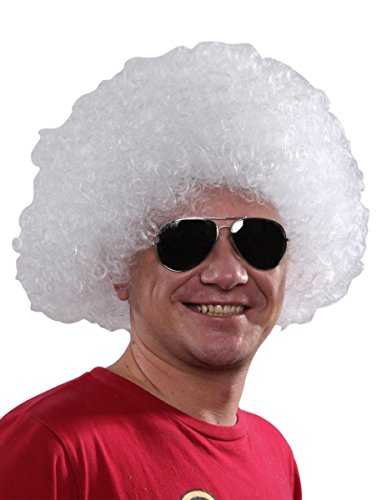 Perruque afro/clown blanche standard adulte