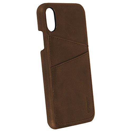"Krusell® iPhone X Hülle Leder ""Sunne 2 Card Cover"" Handyhülle Schutzhülle Handyschale passgenau mit Kreditkartenetui (vintage rot) Braun"