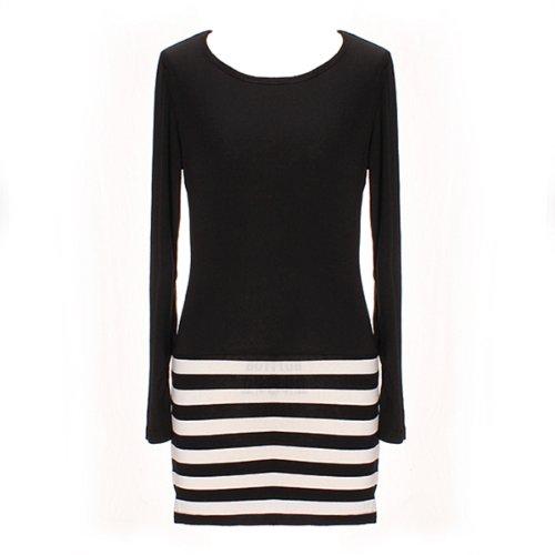 Femme robe sans manches Chiffon rayures stripe elegante ete plage soiree As Picture Shown