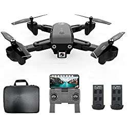 Goolsky CSJ S166GPS Drone avec Caméra 1080P/720P Retour Automatique Accueil WiFi FPV Vidéo en Direct Geste Photos avec 1/2/3 Batterie(Facultatif ) Quadricoptère RC pour Adultes (1080P & 2 Batteries)