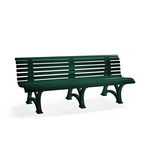 BLOME Parkbank aus Kunststoff – mit 13 Leisten – Breite 2000 mm, moosgrün – Bank Gartenbank Kunststoff-Bank Kunststoff-Bänke Ruhebank